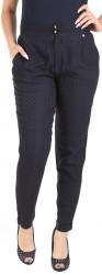 Dámske elegantné čierno-modré nohavice Y0151