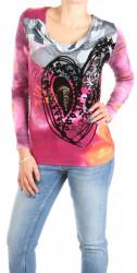 Dámske šedo-ružové tričko Desigual W0991
