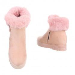 7fdbe04377251 Dámske vysoké zimné topánky s kožušinou Q0149 - Čižmy trendové ...