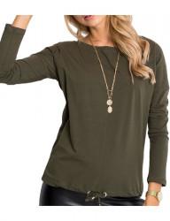 Dámske zelené tričko na zaviazanie v páse N4230