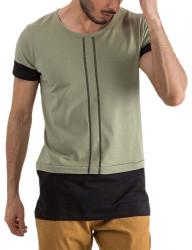 Khaki pánske tričko s prúžkami Y0175