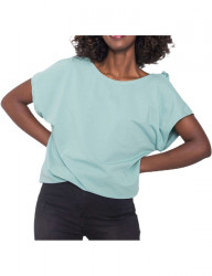 Mätovo zelené tričko s volánom na chrbte Y1444