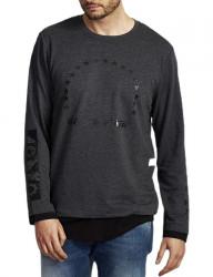 šedo-čierne tričko s potlačou Y0198