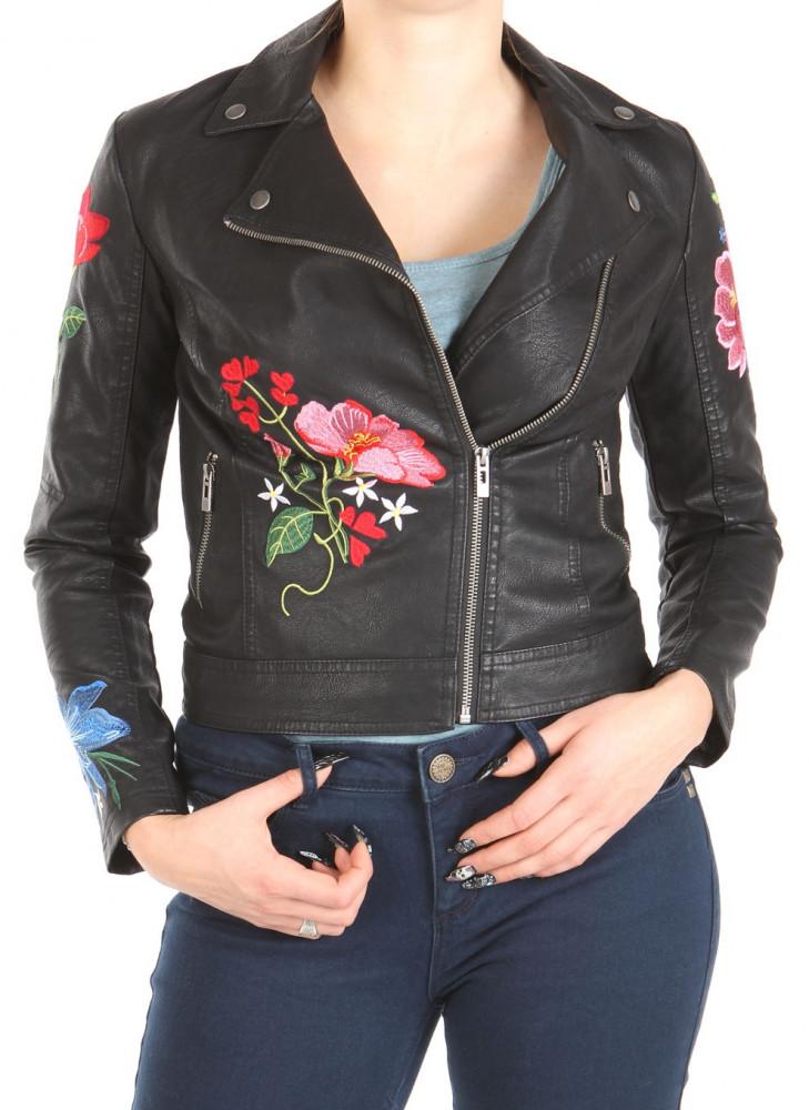 7d8002f88524 Dámska koženková bunda s výšivkou W1240 - Dámske jarné bundy - Locca.sk