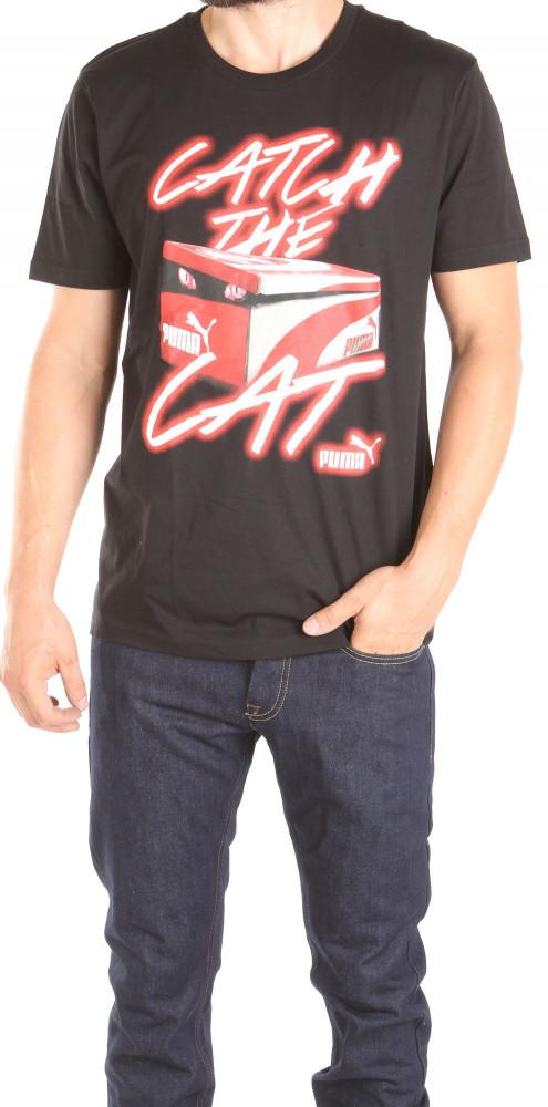 92690e0899ac Pánske čierne tričko s potlačou Puma W0824 - Pánske tričká s krátkym ...