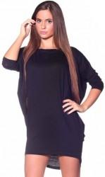 Asymetrické módne tričko Čierna