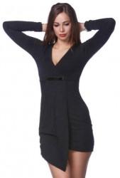 Asymetrické šaty s V výstrihom Čierna