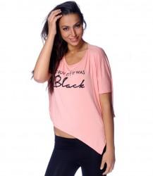 Asymetrické tričko BLACK bledo ružová
