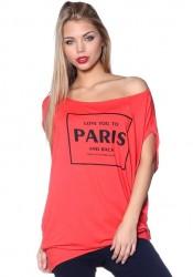 Asymetrické tričko PARIS koralová