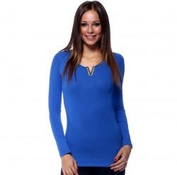 Dlhé tričko s V ozdobou modrá