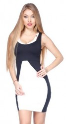 Dvojfarebné mini šaty Čiernobiela