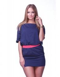 Mini šaty s krátkym rukávom tmavo modrá 273be42af35