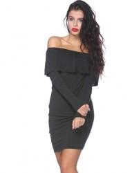 Mini šaty s volánikom khaki