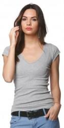 Tričko s čipkou pri krku sivá
