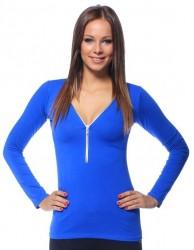 Tričko so zipsom modrá