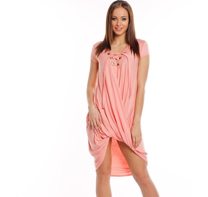 7545683bab02 Ležérne šaty so zaväzovaním bledo ružová - Dámske ležérne šaty ...