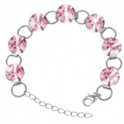 Náramok Swarovski 12mm rivoli – LIGHT ROSE For You Nar-riv-10-11