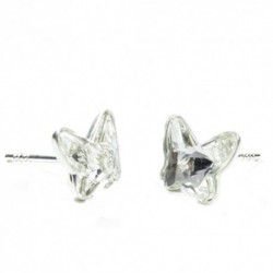 Náušnice motýliky 12 mm – farba Crystal – napichovačky For You Nau-motyl-009