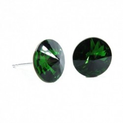 Náušnice rivoli 12 mm vo farbe DARK MOSS GREEN – napichovačky For You Nau-rivoli12-029
