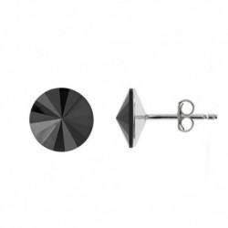 Náušnice rivoli 12 mm vo farbe JET – napichovačky For You Nau-rivoli12-039