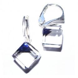 Náušnice swarovski Cube 8 mm vo farbe BERMUDE BLUE For You Nau-kocka-002