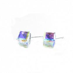 Náušnice swarovski Cube 8 mm vo farbe CRYSTAL AB- napichovačky For You Nau-kocka-004b
