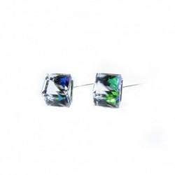 Náušnice swarovski Cube 8 mm vo farbe CRYSTAL VM – napichpovačky For You Nau-kocka-001b