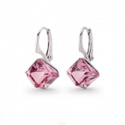 Náušnice swarovski Cube 8 mm vo farbe LIGHT ROSE For You Nau-kocka-005