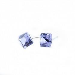 Náušnice swarovski Cube 8 mm vo farbe VIOLET – napichovačky For You Nau-kocka-009b