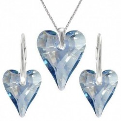 Set srdce swarovski CRAZY – BLUE SHADE For You Set-srdcrazy-001