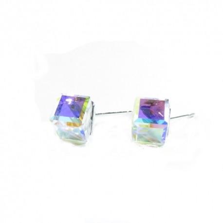Náušnice swarovski Cube 6 mm vo farbe CRYSTAL AB F – napichovačky For You  Nau-kocka-029 b8f82f5dda4