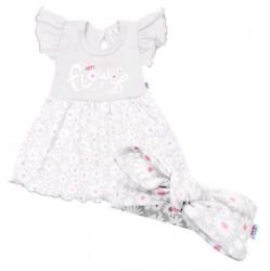 Dojčenské letné bavlnené šatôčky s čelenkou New Baby Happy Flower sivé sivá