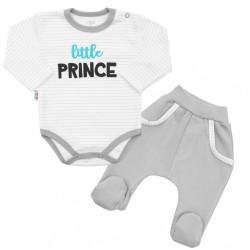 2-dielna bavlnená súprava New Baby Little Prince sivá