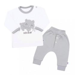 2-dielna dojčenská bavlnená súpravička New Baby Cute Bear sivá