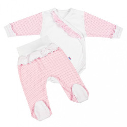 2-dielna dojčenská súprava New Baby Puntík II bielo-ružová