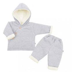 2-dielna zimná dojčenská súprava New Baby Best Winter sivá