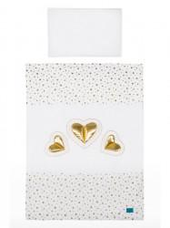 2-dielne posteľné obliečky Belisima Tri srdcia 100/135 bielo-zlaté