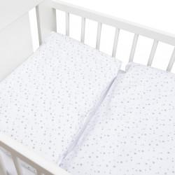 2-dielne posteľné obliečky New Baby 100/135 cm biele sivé hviezdičky #1