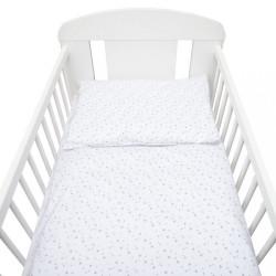 2-dielne posteľné obliečky New Baby 90/120 cm biele sivé hviezdičky