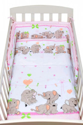 2-dielne posteľné obliečky New Baby 90/120 cm růžové so sloníky
