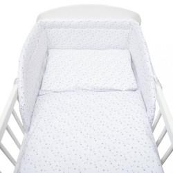 3-dielne posteľné obliečky New Baby 100/135 cm biele sivé hviezdičky