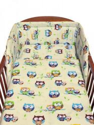 3-dielne posteľné obliečky New Baby 90/120 cm bežové sovy modré