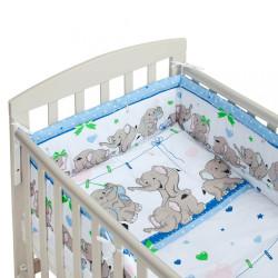 3-dielne posteľné obliečky New Baby 90/120 cm modré so sloníky #1