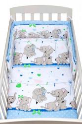 3-dielne posteľné obliečky New Baby 90/120 cm modré so sloníky