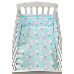 3-dielne posteľné obliečky New Baby 90/120 cm obláčiky mätové zelená