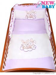 3-dielne posteľné obliečky New Baby Bunnies 100x135 fialové