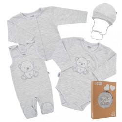 Dojčenská súprava do pôrodnice New Baby For Sweet Bear sivá sivá