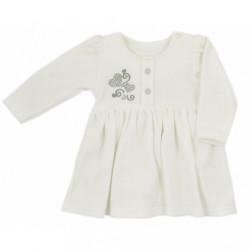 Dojčenské semiškové šatôčky Koala Golden Heart krémové strieborné srdce béžová