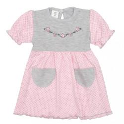 Dojčenské šatôčky s krátkym rukávom New Baby Summer dress ružovo-sivé ružová