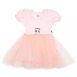 Dojčenské šatôčky s tylovou sukienkou New Baby Wonderful ružové ružová